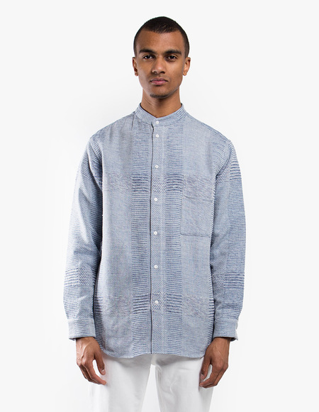 Neuba Mountain Range Stand-Collar Shirt - Indigo Mix