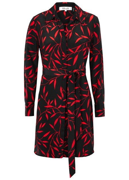 Diane Von Furstenberg Black Printed Silk Shirt Dress - Red Leaf Print