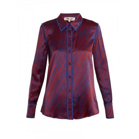 Diane Von Furstenberg Visconti Dash-Print Silk-Satin Shirt - BURGUNDY