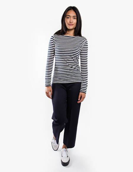 You Must Create Charlotte long sleeve Stripe Tee - Navy/Ecru
