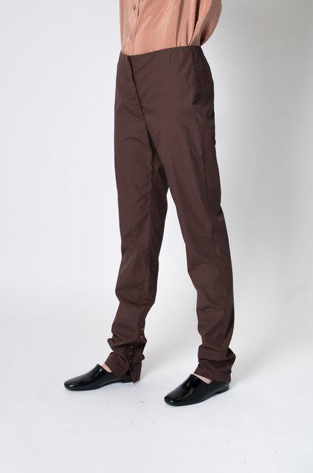 Lemaire Cotton Buttoned Pants - Brown