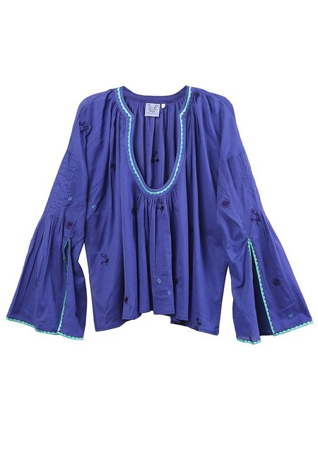 Thierry Colson Selima Embroidered Fan Sleeve Blouse - Blueberry