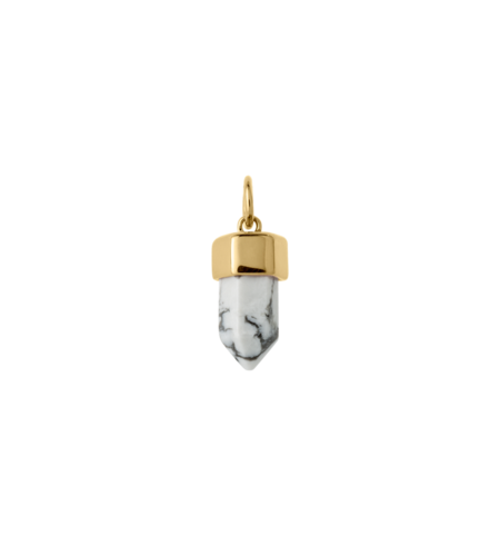 Kirstin Ash Crystal Point Small Howlite - Gold