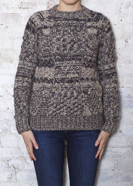 Thomas Sires Cable Sweater - Brown/Ecru