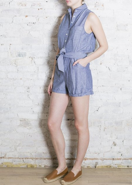 Thomas Sires Gathered Back Shorts Jumper - Chambray