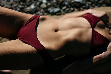 Slate Swim Rhythm Bikini Bottom - Wine