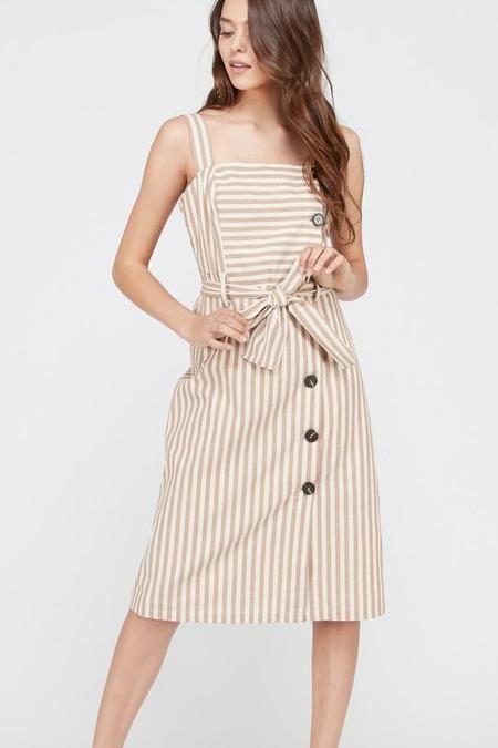 Wishlist Striped Apron Dress - Caramel with Ivory