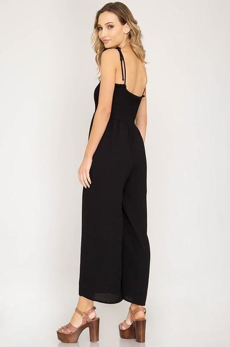 She + Sky Smocked Tube Top Jumpsuit - Black