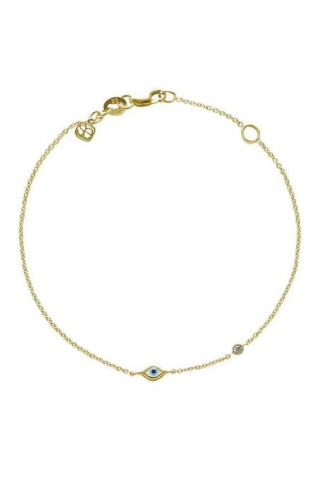 Sydney Evan 14K Evil Eye and Single Diamond Bezel Bracelet - GOLD
