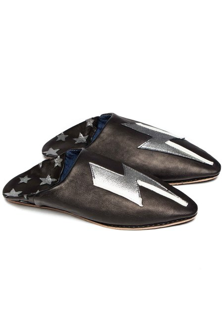 En Shallah Exclusive Leather Wonder Babouche - Black/White/Silver