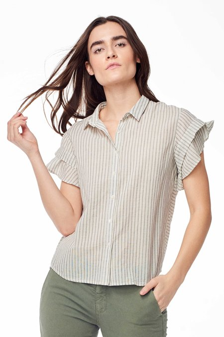 Chan Luu Genevieve Button Up - Natural Stripe