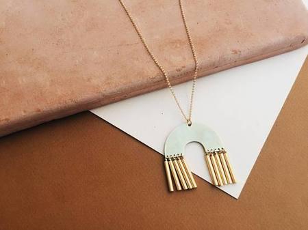 Tumble Abode Long Geometric Necklace - Gold