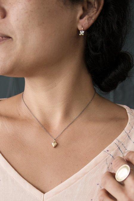 Melissa Easton Tiny Chunky Heart Necklace - 10K Gold