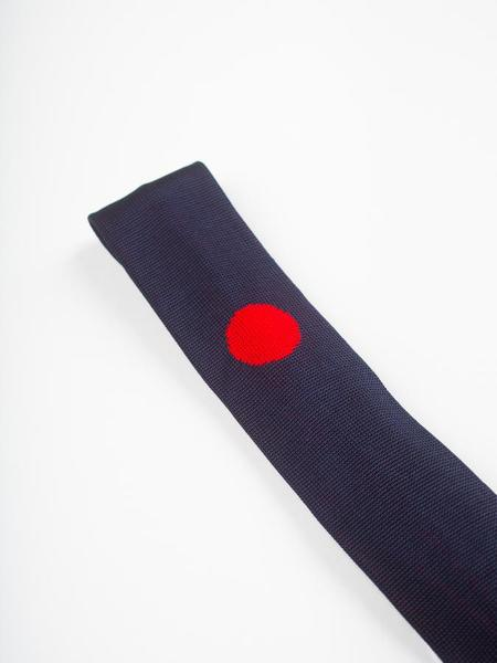 Blue Blue Japan J Hinomaru Silk Knit Necktie - Navy