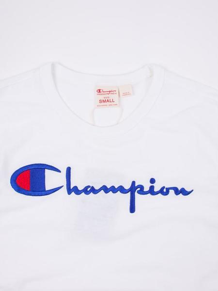 Champion Reverse Weave Jersey Crewneck Script Tee - White