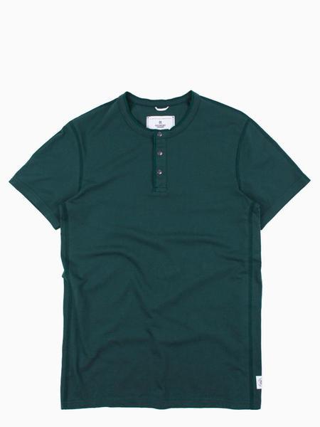 Reigning Champ Ringspun Jersey Short Sleeve Henley - Court Green