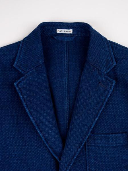 Blue Blue Japan Woven Sashiko 3 Button Blazer - Pure Indigo