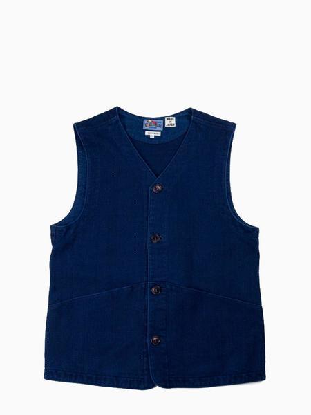 Blue Blue Japan Woven Sashiko Game Vest - Pure Indigo