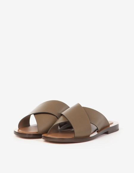 Amblême Madrague Calfskin Sandals - Olive