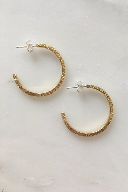 Alice Chandler Hammered Brass Hoop Earrings