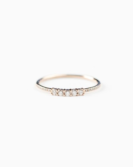 Seldom Seen 5 Diamond 14k Rose Gold Band Ring
