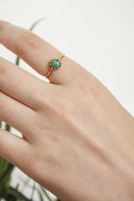 MEREWIF MOON RAY RING - gold/turquoise