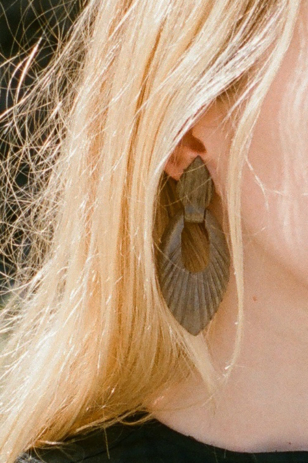 Vintage Carved Wooden Earrings - Muted Brown