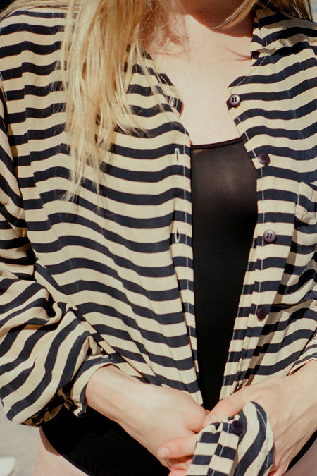 Casia Vintage Striped Silk Top