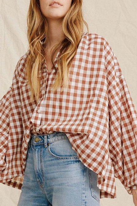 The Great. The Handsome Button Down - Carob Check