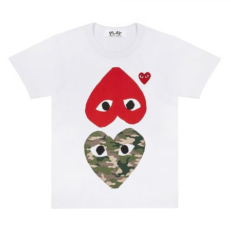 Comme des Garçons-Play Upside Down Camo Heart and Red Heart - White