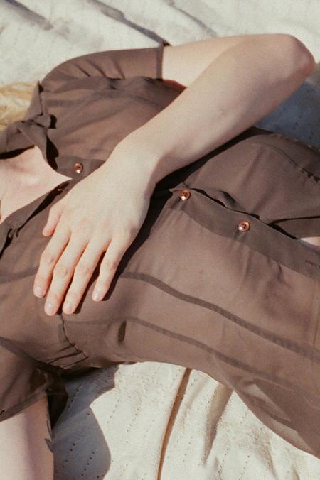 Casia Vintage Sheer Blouse - Brown