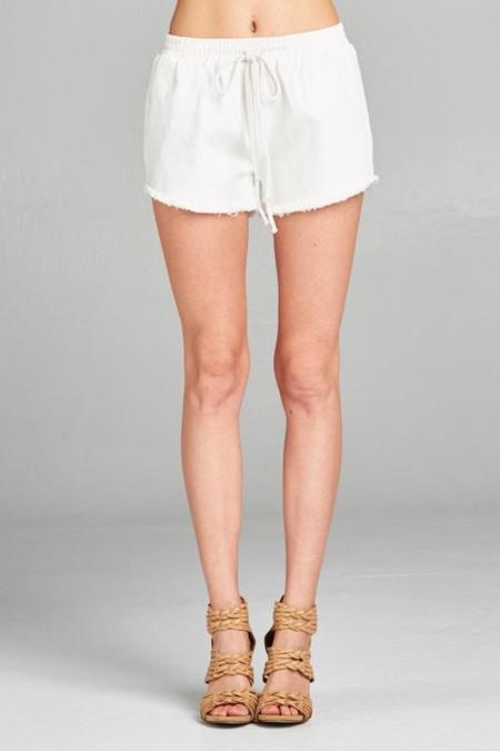 Ellison Denim Drawstring Shorts - White