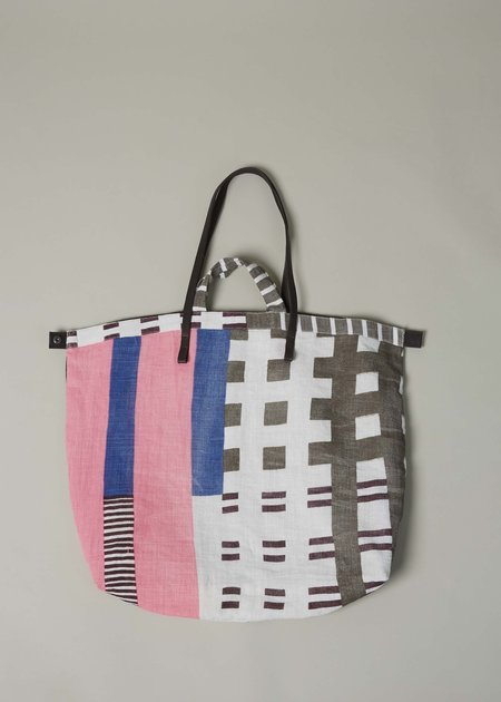 Epice Leather Strap Linen Tote - Pink/Taupe