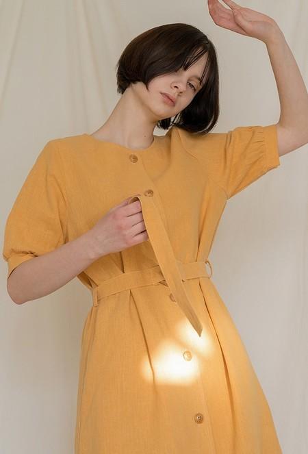 AMONG Linen belted DRESS - ORANGE