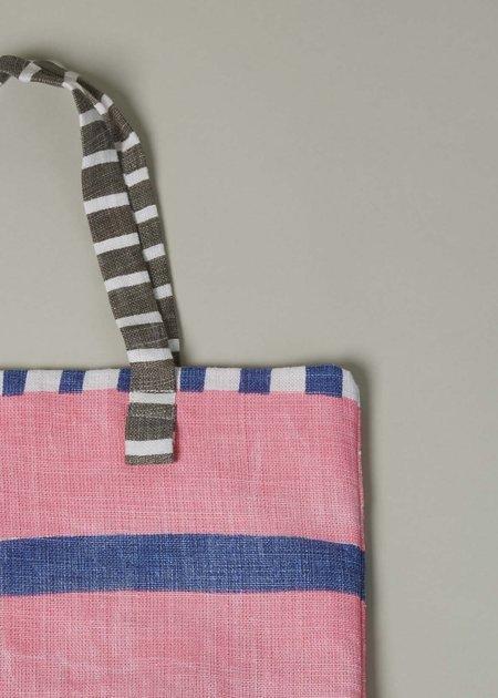 Epice Multi Stripe Linen Tote - Pink/Blue