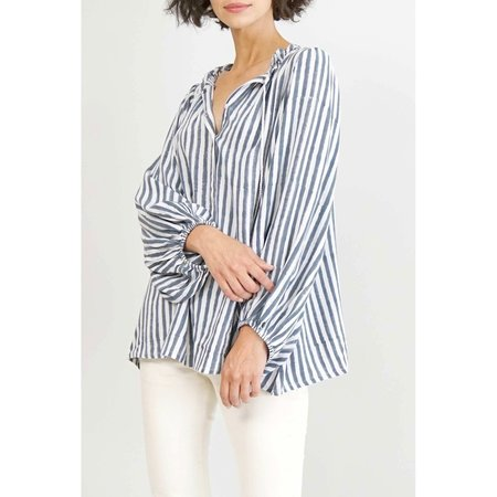 Emerson Fry Bardot Top - Charcoal Stripe