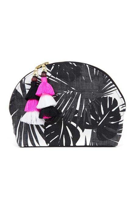 JADEtribe Aloha Tassel Cosmetic Pouch - Black/White/Pink