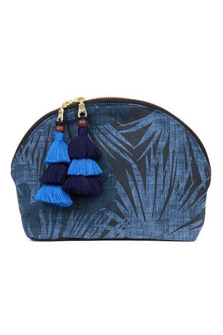 JADEtribe Aloha Tassel Cosmetic Pouch - Indigo/Blue