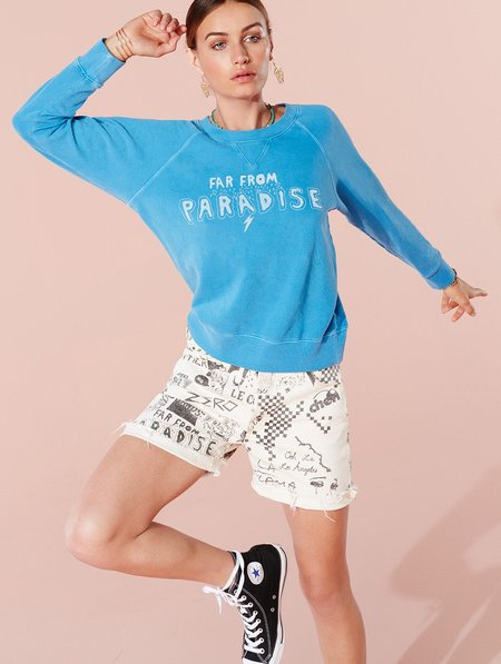 Mother Denim Far From Paradise Pullover - Bluejay