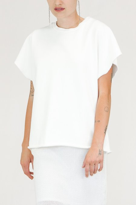 Oak NYC Cut Off Crew Top - Chalk