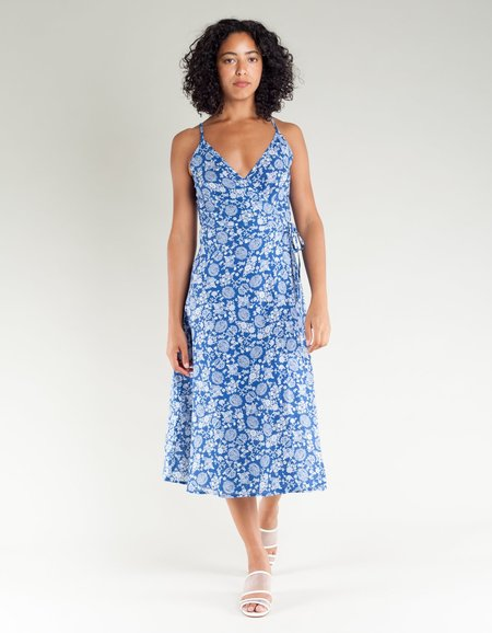 Lacausa Penny Wrap Dress - Porcelain Print