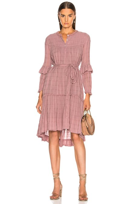 Raquel Allegra Gauze Victorian Ruffle Dress - Mauve Plaid