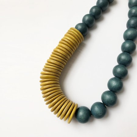 SYLCA Abacus Necklace - Green/Yellow
