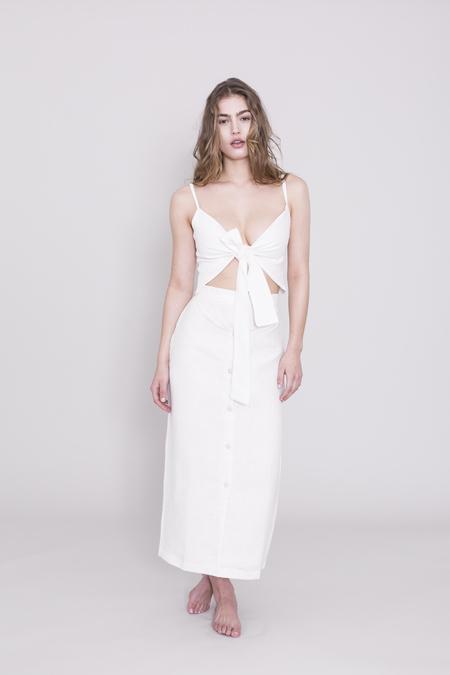 THE SEPT Linen High-waisted Skirt - Cream