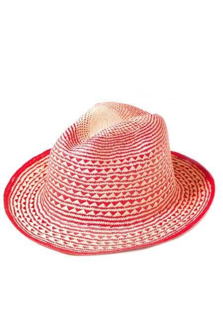 Guanábana Handmade Pyramid Panama Hat - RED