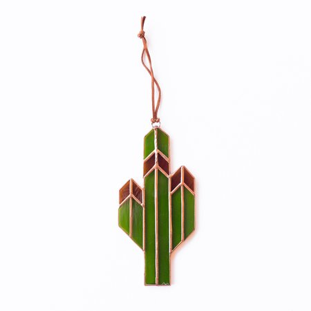 Brewer and Marr Glassworks Saguaro Cactus Sun Catcher - Amber/Copper Patina