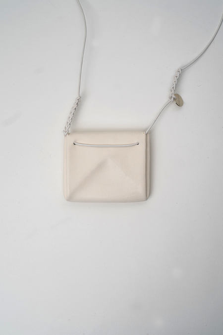 Ann Demeulemeester Mini Leather Bag Necklace - White