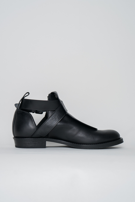 Ann Demeulemeester Leather Cut Out Boots - Black