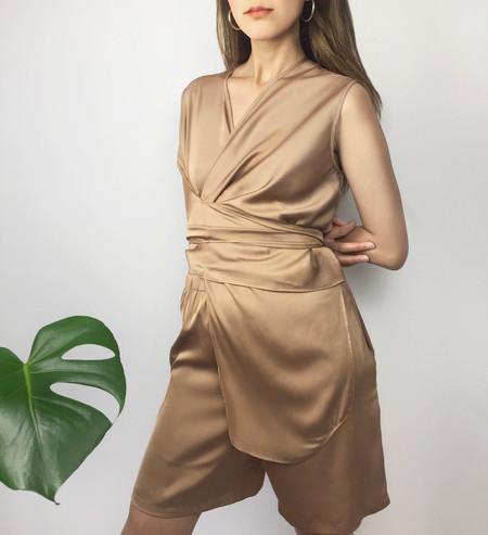 Index Series Sleeveless Wrap Top - Rose Silk