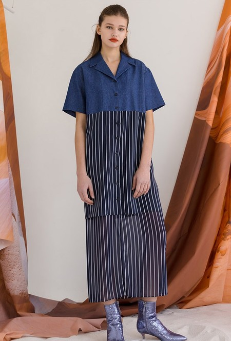 ROCKET X LUNCH STRIPE CHIFFON LAYERED Dress - NAVY